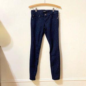 Express Blue Zebra Print Skinny Jeans
